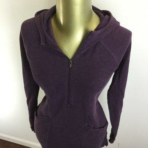 LUCY 1/4 Zip Pullover Purple Hooded Sweatshirt